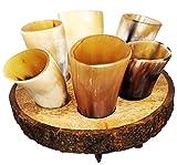 Craft Creator Soporte de Vasos de chupito de Marca de Cuerno de búfalo: Juego de 6 Vasos de chupito de asta de 57ml (2onzas) con Soporte de Madera Premium Personalizada para sostener los Vasos.