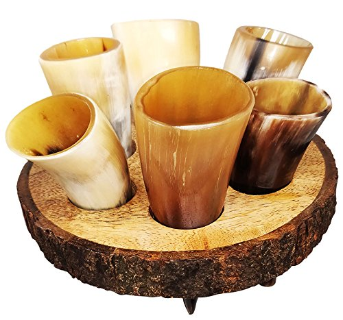 Craft Creator Schnapsglashalter der Marke Büffelhorn: Set mit 6 Schnapsgläsern, 57 ml, mit Halterung aus Premium-Holz, personalisierbar