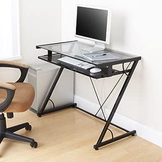 mainstays solar glass-top desk, black