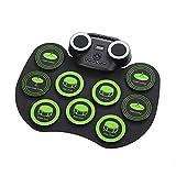 TTLIFE Tambores electronicos Roll-Up Drum 9 almohadillas de batería sensibles Altavoz Bluetooth incorporado con conector para auriculares Mini kit de caja de ritmos Regalos para niños y principiantes
