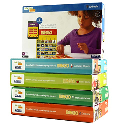 Stages Learning Materials Link4fun Real Photo Bingo 5-Game Set for Family, Preschool, Kindergarten, and Elementary Education: 180 Picture Cards + App