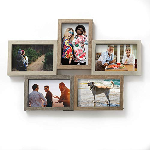 Fashion Craft Wooden Collage Frame, 4' x 6' Five Opening Wood Hanging Photo Holder Unique Rustic Grain & Shades Classic Design Handcrafted Décor Home & Kitchen Accessory Wall & Tabletop Pi (5 Opening)
