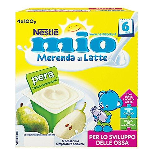 Nestlé Mio Merenda al Latte Pera da 6 Mesi senza glutine 4 Vasetti Plastica 100 g