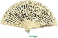 ギフト用タッセル付き中国風扇子 ハンドヘルドファンの中国のサンダルウッドの香りの木製の折りたたみファン、ウェディングの装飾、誕生日、ホームギフトのための折りたたみファンの贈り物のための装飾的なファン と壁の装飾 (Color : D)