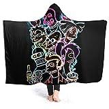 Futu-Ram-A Hooded Blanket Anti-Pilling Flannel Wearable Blanket Hoodie Plush Warm Blanket Throw Blankets Fit for Kids, Adults, Teens