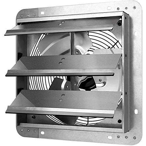 iPower 30cm Shutter Abluftventilator mit variablem Verschluss, Drehzahlregler und Netzkabel-Kit, Auspuff montiert, industrieller Ventilator für den Haushalt, für Dachboden, Garage,60W 220V, Silber