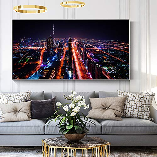 YHZSML Stadt Nachtansicht von Dubai Dekorative Bilder Für Wohnzimmer Moderne Wand Poster Und Drucke Pop Art Leinwand Bett Room Decor 50x100 cm
