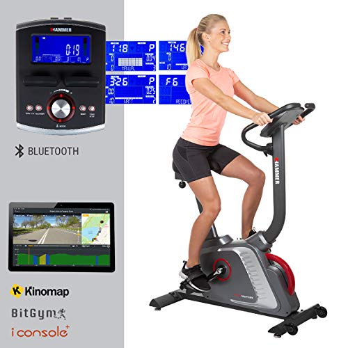 HAMMER Premium Ergometer Heimtrainer Ergo-Motion BT, APP Steuerung für Smartphone, Bluetooth Anbindung, kompatibel mit: Kinomap, iConsole+ und BitGym, 22 Programme, 130 kg Benutzergewicht