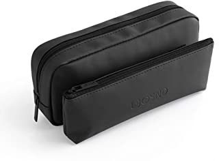 Pencil Case Big Capacity Pen Pencil Bag Pouch Makeup Brush Holder Travel Toiletry Cosmetic Bag with Detachable Front Storage Pocket and Removable Center Flap,PU+ Nylon,Waterproof Lightweight,Black