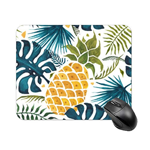 """Yilooom Golden Pineapple Blue Palm Leaves Foliage White Rectangle Non Slip Rubber Mousepad Gaming Mouse Pad 9""""x7"""""""