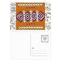 茶色のパターンのダーツメキシコトーテムの古代文明の描画 公式ポストカードセットサンクスカード郵送側20個