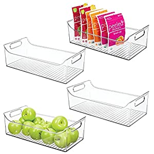 mDesign rangement frigo avec poignées (lot de 4) – bac alimentaire long en plastique pour fruits, légumes, conserves, etc. – caisse de rangement pour placard de cuisine ou réfrigérateur – transparent