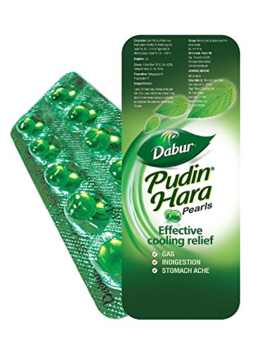 Dabur Pudin Hara Pearls - 30 Pearls ( 3 x 10 per Strip), Mint Flavour, Ayurvedic Natural Fast Action Remedy for Stomach ache, Gas and Indigestion