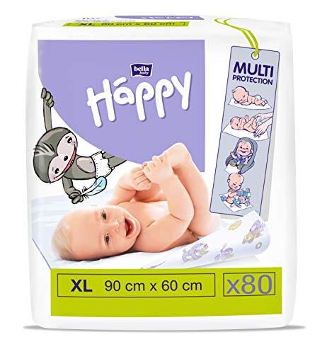 bella baby Happy Wickelunterlagen: Baby Wickelunterlagen für unterwegs 90 x 60 cm im 8er Pack (8 x 10 Stück) - wasserdicht und hygienisch