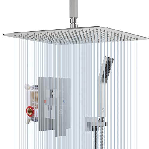 SR SUN RISE 12 Inch Ceiling Mount Brushed Nickel Shower System Bathroom Luxury Rain Mixer Shower Combo Set Ceiling Rainfall Shower Head System (Contain Shower Faucet Rough-In Valve Body and Trim)