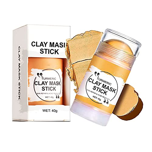 TGBV Turmeric Clay Mask Stick, 2pcs Purifying Clay Stick Mask,Turmeric Vitamin C Clay Mask, Green Tea Poreless Deep Cleanse Mask Stick,for Controlling Acne, Oil and Refining Pores (Turmeric)