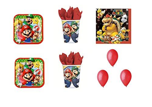 Super Mario Bros Luigi et fête – Kit N ° 19 CDC- (32, 32 verres, 40 assiettes 40 serviettes, 100 ballons rouges)