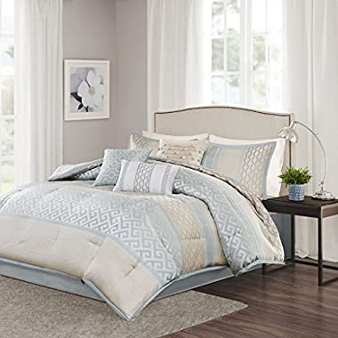 Madison Park Bennett Queen Size Bed Comforter Set Bed In A Bag - Pale Aqua, Taupe, Jacquard Geometric – 7 Pieces Bedding Sets – Faux Silk Bedroom Comforters