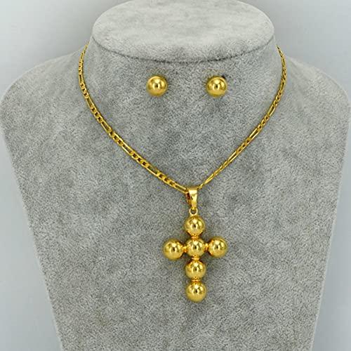 UCJHXFR Ucjhxfrwomen 060206 - Colgante de cruz esférica con collar y pendientes de oro