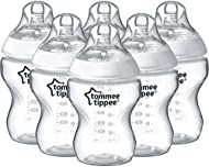 Tommee Tippee Closer to Nature® Baby Bottles, Breast-Like Teat with Anti-Colic Valve, 260ml, Pack of...