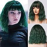 Emmor peluca verde corta para mujer, pelucas onduladas sintéticas de cabello natural con flequillo limpio, pelucas completas de uso diario
