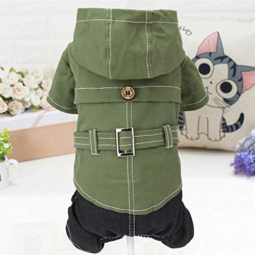 犬の服 つなぎ ドッグウエア ペット用品 ペット服 ペットグッズ 犬服 スナップボタン グリーン (S)