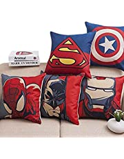 """ElegantHomes Set of 5 Multi Colored Avengers Decorative Hand Made Cotton Cushion Covers 16"""" x 16"""" (40cm x 40cm)"""