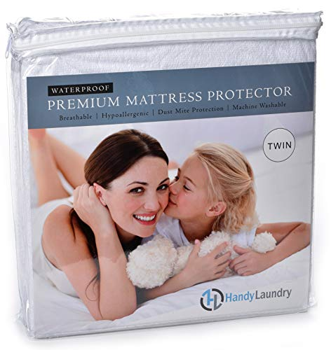 Twin Mattress Protector, Waterproof, Breathable, Blocks Dust Mites, Allergens, Smooth Soft Cotton Terry Cover. The Premium Mattress Protector will surely increase the life of your mattress.