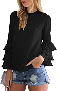 Dubocu Women's Blouses For Loose Casual Folding Sleeves Long Sleeve Tops