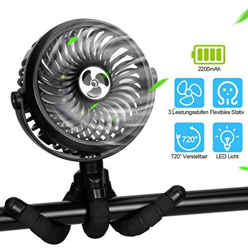 TDONE USB Ventilator Leise mit LED Licht Mini Tischventilator zum Aufhängen batteriebetriebene Handventilatoren 4 in 1 720° Verstellbar Fan für Kinderwagen Schlafzimmer Büro Camping