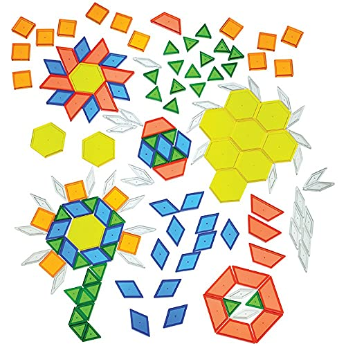 Constructive Playthings - EDX-147 Toys Translucent Pattern Blocks, Set of 147 Pieces, Various Shapes and Colors
