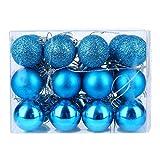DomoWin Bolas de Navidad, Bolas para árbol de Navidad Decoración de Bolas de Navidad Inastillable Decoración del Árbol De Navidad Set de 24 Bolas (Azul Claro, 3 cm Ø)