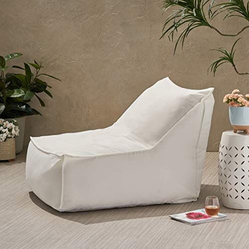 Christopher Knight Home Tulum Outdoor Water Resistant Fabric Bean Bag Lounger by White