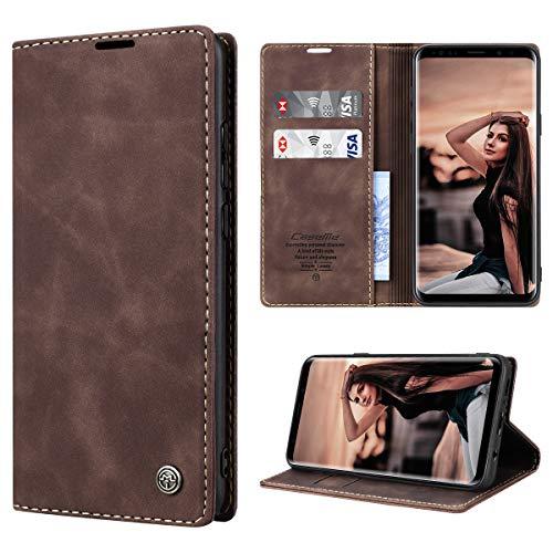 RuiPower Handyhülle für Samsung Galaxy S9 Plus Hülle Premium Leder PU Flip Hülle Magnetisch Klapphülle Wallet Lederhülle Silikon Bumper Schutzhülle für Samsung Galaxy S9 Plus Tasche - Koffee