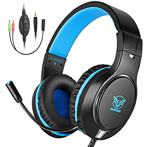 Cocoda Cascos Gaming, Auriculares Gaming PS4 para PS3/PC/Xbox One/Nintendo Switch/Laptop, Auriculares Microfono Estéreo con Bass Surround Cancelacion Ruido, 3.5mm Jack, Control de Volumen