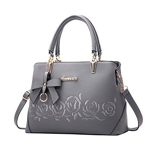 TianWlio Handtasche Damen Mode Bowknot Rose Muster Crossbody Bag Schultertasche Handtasche Grau