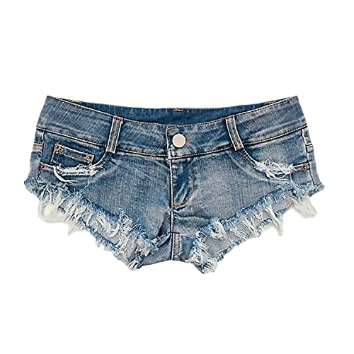 Sexy Ripped Jean Shorts for Women Distressed Low Rise Hot Pant Thong Jeans Frayed Summer Denim Short Pants with Hole (Blue,Large)