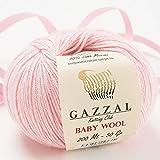 5 Pack - Total 8.8 Oz Gazzal Baby Wool 1.76 Oz (50g) / 191 Yards (175m) Fine Baby Yarn, 40% Lana Merino, 20% Cashmere Type Polyamide, Pink - 836