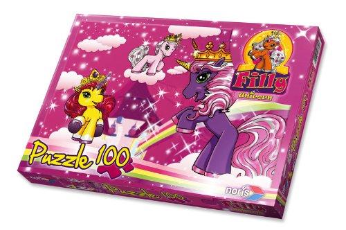 Noris 606037370 - Filly Unicorn - Am Turm, 100 Teile Puzzle