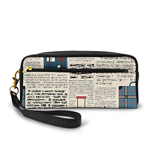 Pencil Case Pen Bag Pouch Stationary,Retro Style Travel Vacation Theme Vintage Suitcases Keys Dot Text,Small Makeup Bag Coin Purse