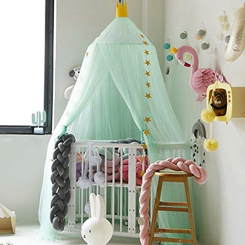 Hoomall Décoration Chambre Moustiquaire Ciel de Lit Baldaquin Moustiquaire Tente Jeu Lecture pr Bébé Enfant Couleur Gris 240cm 1 PC (Vert Macaron)