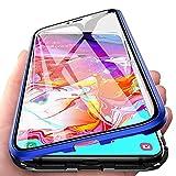 Funda para Samsung Galaxy A70 Adsorcion Magnetica Carcasa 360 Grados Protección Estuche Doble Untre Delgada Háptico Vidrio Templado Marco Aluminio Anti Choque Metal Flip Cover