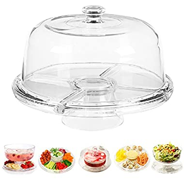 Perlli - Cake Stand Multifunctional Serving Platter and Cake Plate With Dome (6 Uses)