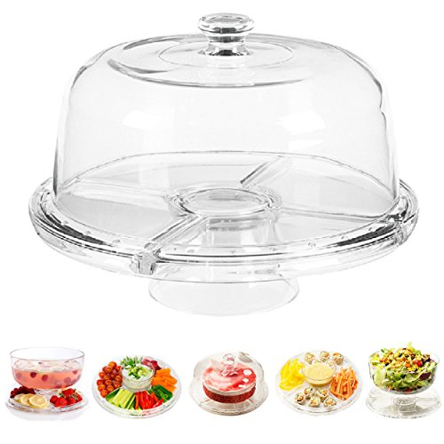 Cake Stand Multifunctional Serving Platter and Cake Plate With Dome - 6...
