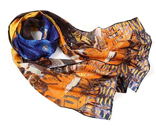 prettystern P834-160cm Malerei Kunstdrucke Schal aus Reiner Seide - Van Gogh - Caféterrasse Bei Nacht