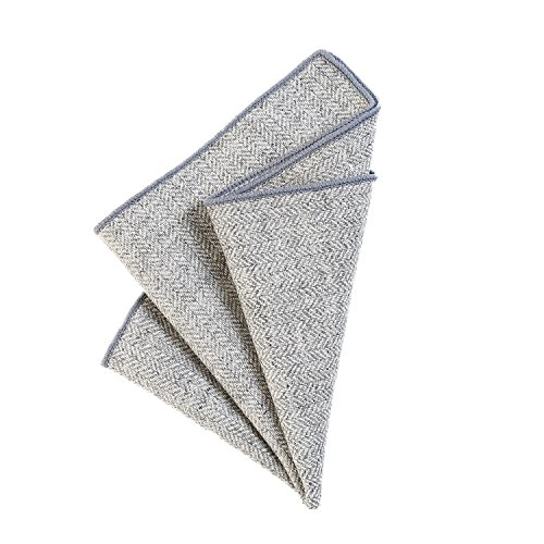DonDon fazzoletto da taschino 23 x 23 cm per uomo di plaid e tweed di cotone grigio chiaro