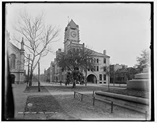 Infinite Photographs Photo: Chatham County Court House,Buildings,Paths,Roads,Clocks,Savannah,Georgia,GA,1890
