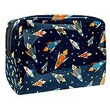 Colorido Patrón de Naves Espaciales Cosméticos Maquillaje Bolsa Organizador para Mujeres Kit de Viaje Con Cremallera Multifunción Neceser Bolsas de Almacenamiento