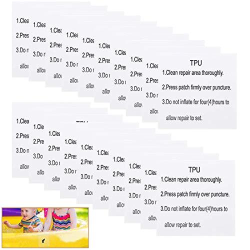 BETOY Toppe di Riparazione, 20 Pezzo Patch di Riparazione Impermeabile Autoadesivo Trasparente Riparazione Piscina Patch per Tenda da Campeggio, Kit Gonfiabile, 7 x 7 cm (Modelli TPU)