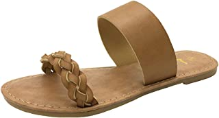 Women's Braided Slide Sandals Open Toe Two Strap Slip On Flat Sandals Casual Summer Shoes